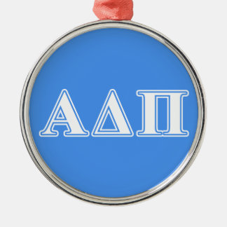 Alpha Delta Pi Dark Blue and White Letters Silver-Colored Round Decoration