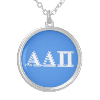 Alpha Delta Pi Dark Blue and White Letters Silver Plated Necklace