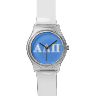 Alpha Delta Pi Dark Blue and White Letters Watch