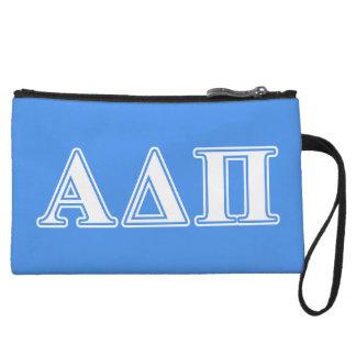 Alpha Delta Pi Dark Blue and White Letters Wristlet