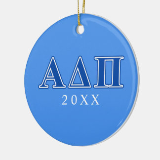 Alpha Delta Pi Dark Blue Letters Christmas Ornament
