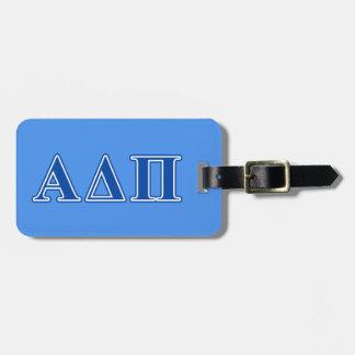 Alpha Delta Pi Dark Blue Letters Luggage Tag