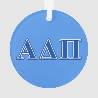 Alpha Delta Pi Dark Blue Letters Ornament