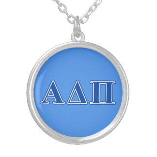 Alpha Delta Pi Dark Blue Letters Silver Plated Necklace