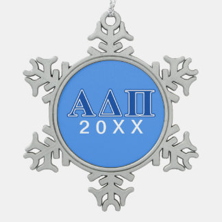 Alpha Delta Pi Dark Blue Letters Snowflake Pewter Christmas Ornament