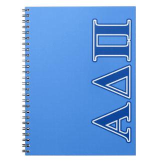Alpha Delta Pi Dark Blue Letters Spiral Notebook