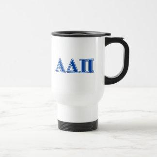 Alpha Delta Pi Dark Blue Letters Travel Mug