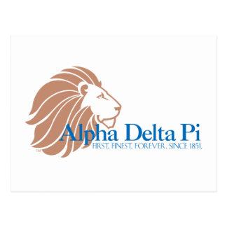 Alpha Delta Pi Gold Lion and Blue Name Postcard