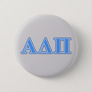 Alpha Delta Pi Light Blue and Dark Blue Letters 6 Cm Round Badge