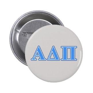 Alpha Delta Pi Light Blue and Dark Blue Letters 6 Cm Round Badge