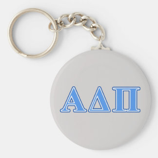 Alpha Delta Pi Light Blue and Dark Blue Letters Basic Round Button Key Ring