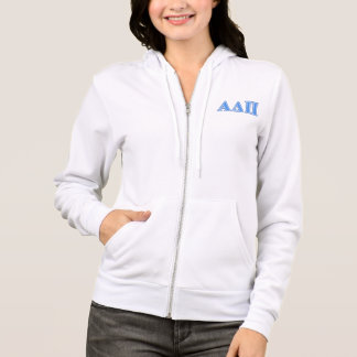 Alpha Delta Pi Light Blue and Dark Blue Letters Hoodie