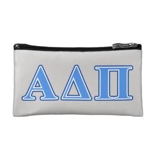 Alpha Delta Pi Light Blue and Dark Blue Letters Makeup Bag