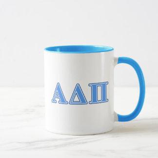 Alpha Delta Pi Light Blue and Dark Blue Letters Mug