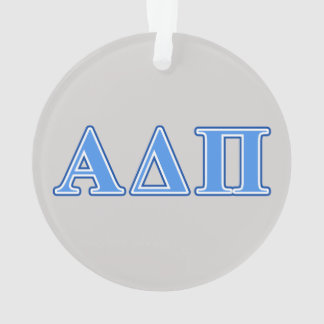 Alpha Delta Pi Light Blue and Dark Blue Letters Ornament