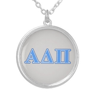 Alpha Delta Pi Light Blue and Dark Blue Letters Silver Plated Necklace