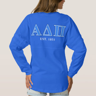 Alpha Delta Pi Light Blue and Dark Blue Letters Spirit Jersey