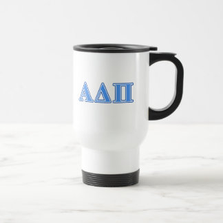 Alpha Delta Pi Light Blue and Dark Blue Letters Travel Mug