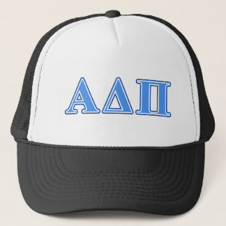 Alpha Delta Pi Light Blue and Dark Blue Letters Trucker Hat