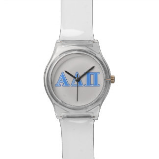Alpha Delta Pi Light Blue and Dark Blue Letters Watch