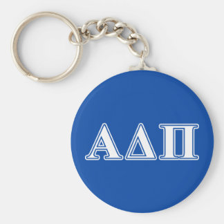 Alpha Delta Pi Light Blue and White Letters Basic Round Button Key Ring