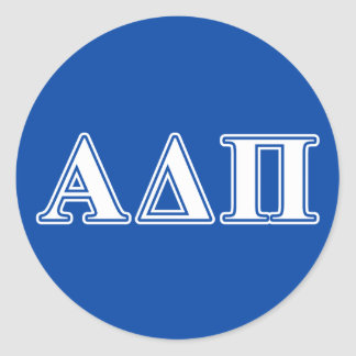 Alpha Delta Pi Light Blue and White Letters Classic Round Sticker