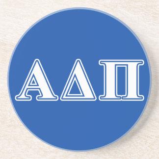 Alpha Delta Pi Light Blue and White Letters Coaster