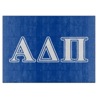 Alpha Delta Pi Light Blue and White Letters Cutting Board