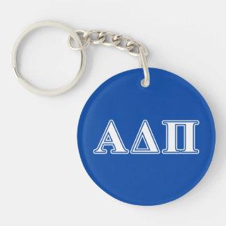 Alpha Delta Pi Light Blue and White Letters Key Ring