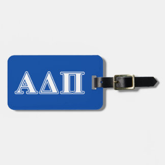 Alpha Delta Pi Light Blue and White Letters Luggage Tag