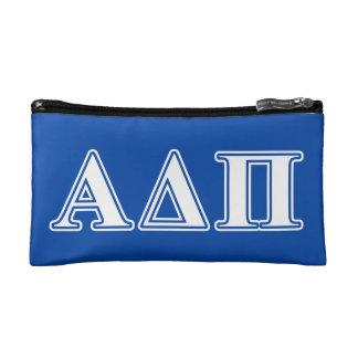 Alpha Delta Pi Light Blue and White Letters Makeup Bag