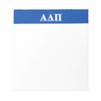 Alpha Delta Pi Light Blue and White Letters Notepad