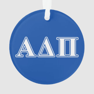 Alpha Delta Pi Light Blue and White Letters Ornament