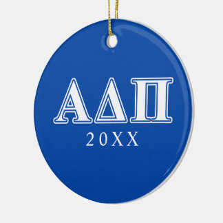 Alpha Delta Pi Light Blue and White Letters Round Ceramic Decoration