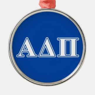 Alpha Delta Pi Light Blue and White Letters Silver-Colored Round Decoration