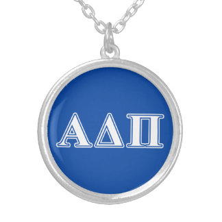 Alpha Delta Pi Light Blue and White Letters Silver Plated Necklace