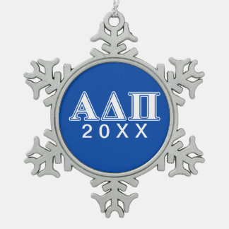 Alpha Delta Pi Light Blue and White Letters Snowflake Pewter Christmas Ornament