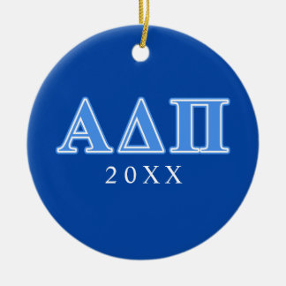 Alpha Delta Pi Light Blue Letters Christmas Ornament