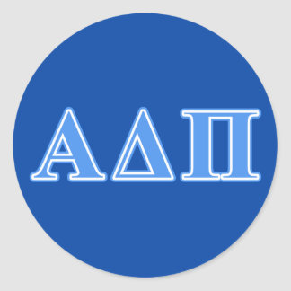 Alpha Delta Pi Light Blue Letters Classic Round Sticker