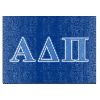 Alpha Delta Pi Light Blue Letters Cutting Board