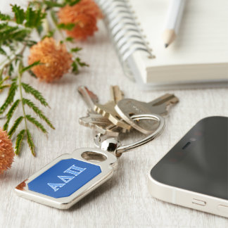 Alpha Delta Pi Light Blue Letters Key Ring