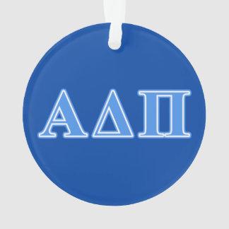 Alpha Delta Pi Light Blue Letters Ornament
