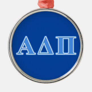Alpha Delta Pi Light Blue Letters Silver-Colored Round Decoration