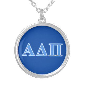 Alpha Delta Pi Light Blue Letters Silver Plated Necklace