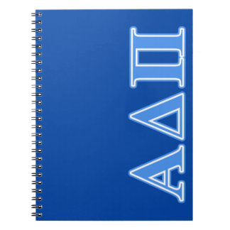Alpha Delta Pi Light Blue Letters Spiral Notebook