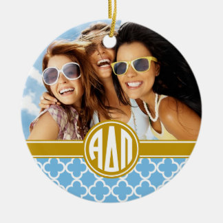 Alpha Delta Pi | Monogram and Photo Christmas Ornament