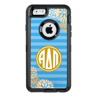 Alpha Delta Pi   Monogram Stripe Pattern OtterBox Defender iPhone Case