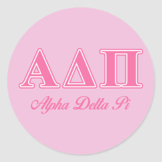 Alpha Delta Pi Pink Letters Classic Round Sticker