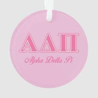 Alpha Delta Pi Pink Letters Ornament