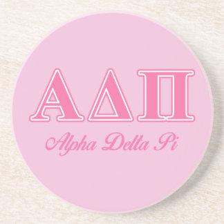 Alpha Delta Pi Pink Letters Sandstone Coaster